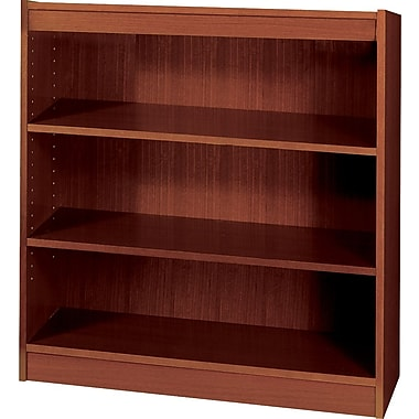 SAFCO Workspace Square Edge Veneer 3-Shelf Bookcase, Mahogany