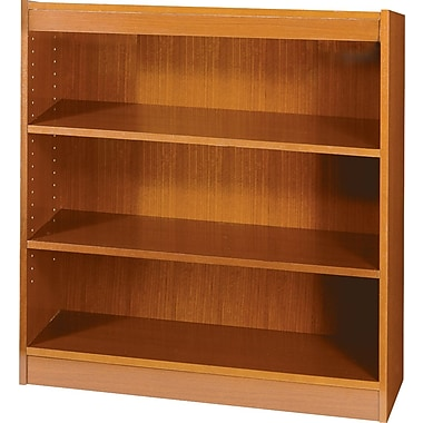 SAFCO Workspace Square Edge Veneer 3-Shelf Bookcase, Medium Oak