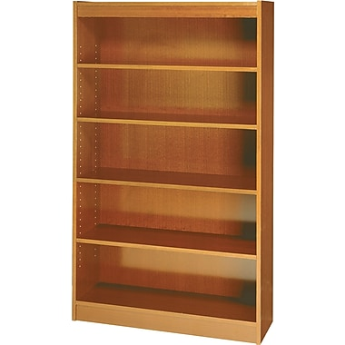 SAFCO Workspace Square Edge Veneer 5-Shelf Bookcase, Medium Oak
