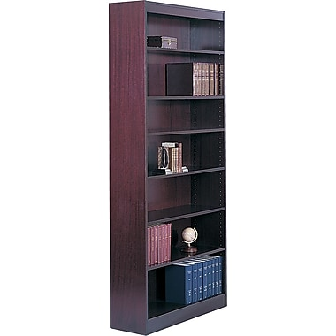 SAFCO Workspace Square Edge Veneer 7-Shelf Bookcase, Mahogany