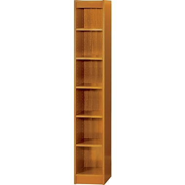 SAFCO Workspace Veneer Baby 12in. Wide Bookcase, Medium Oak, 6-Shelf
