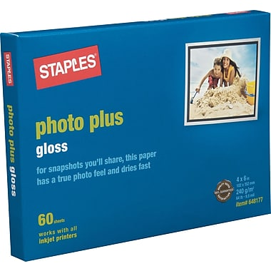 Staples® Photo Plus Paper, 4in. x 6in., Gloss, 60/Pack