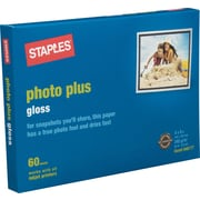 Staples® Photo Plus Paper, 4 x 6, Gloss, 60/Pack