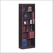 SAFCO Workspace Veneer Baby 24 inch Wide Bookcase Mahogany 6 Shelf