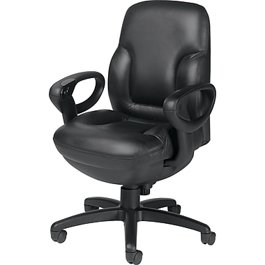 Global Concorde Mid-Back Leather Executive Chair, Adjustable Arms, Black