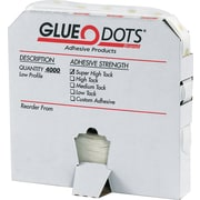 Glue Dots Low Profile, Low Tack, Putty & Dot, 4000/Case