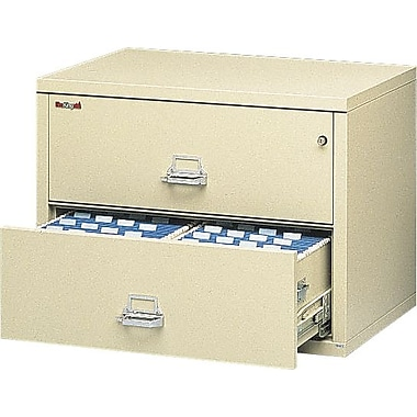 FireKing 1-Hour 2-Drawer 38in. Fire Resistant Lateral File Cabinet Parchment, Inside Delivery