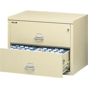 "FireKing/UNS 1-Hour 2-Drawer 31"" Fire Resistant Lateral File Cabinet Parchment, Inside Delivery"