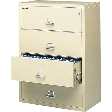 FireKing 1-Hour 4-Drawer 31in. Fire Resistant Lateral File Cabinet, Parchment, Inside Delivery