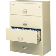 "FireKing 1-Hour 4-Drawer 31"" Fire Resistant Lateral File Cabinet, Parchment, Inside Delivery"