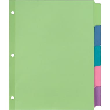 Staples Large Tab Writable Dividers, 5 Tab Set, Multicolor