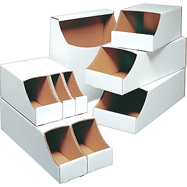 Staples® Stackable Bin Boxes, 12in. x 12in. x 4-1/2in.