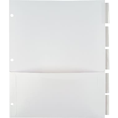 Staples Pocket Dividers with Insertable Standard Tabs, Clear Tab, 5-Tab