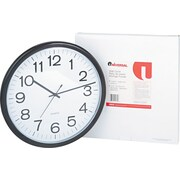 """13 1/2"""" Diameter Wall Clock with 12"""" Dial, Black Case (UNV11641)"""