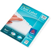 Avery® Index Maker® Clear Label Dividers, 12 Tab, White, 8 1/2 x 11, 1/St