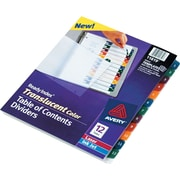 "Avery® Ready Index® Plastic Table of Contents Dividers, 1-12 Tab, Multicolor, 8 1/2"" x 11"", 1/St"