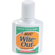 BIC ® Wite-Out ® Brand Extra Coverage Correction Fluid, White, 20 ml Bottle, 12/Pack