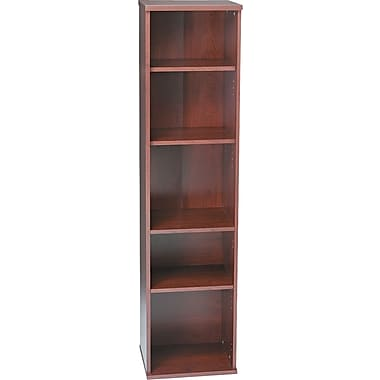 Bush Westfield 5-Shelf Space-Saver Bookcase, Hansen Cherry and Graphite Gray