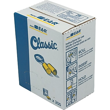 E-A-R® Classic Ear Plugs with Safety Cord, 29 dB, 200 Pairs/Box