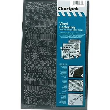 Chartpak Press-On Vinyl Uppercase Letters, 1/2