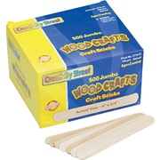 Chenille Kraft® Natural Wood Craft Sticks, Natural, Craft Materials, 6 x 3/4, 500/Box (3776-01)
