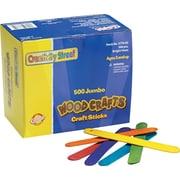 "Chenille Kraft® Colored Wood Craft Sticks, Assorted, Craft Materials, 6"" x 3/4"", 500/Box (3776-02)"