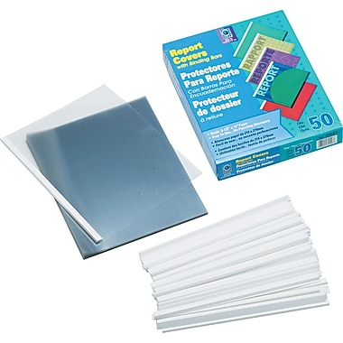 C-Line Vinyl Report Covers With White Binding Bars, Clear, 8 1/2