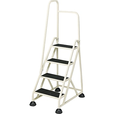 Cramer Four-Step Stop-Step Aluminum Ladder with Handrail, Beige, 66in.