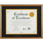 Hardwood Document/Certificate Frame with Mat, Antiqued Gold Leaf