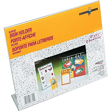 Staples® Slanted Sign Holder, Clear, 8 1/2in.H x 11in.W
