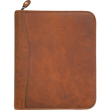 Day-Timer® Aviator Distressed Leather Starter Set, Zip Closure, Dark Tan, Folio Size