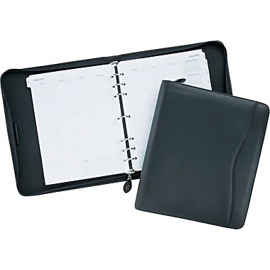 Day-Timer® Verona Leather Starter Set, Zip Closure, Black, Folio Size