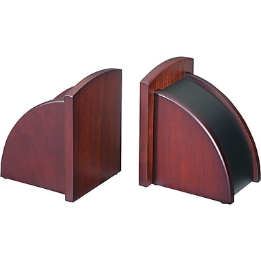 Eldon® Executive Woodline II 6in. High Wood Bookends, Mahogany Finish
