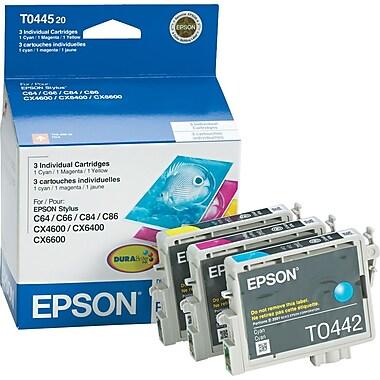 Epson® - Cartouches d'encre 44 (T044520-S) cyan, magenta et jaune, paquet assorti