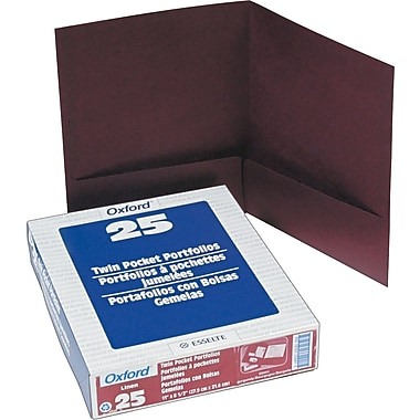 Esselte America Linen 2-Pocket Folders, Burgundy