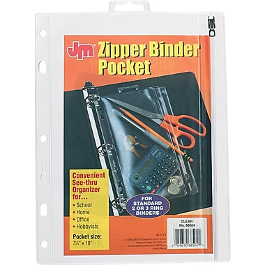 JM Zipper Ring Binder Pockets, 8 x 10 1/2