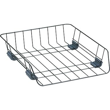 fellowes black wire front load letter tray