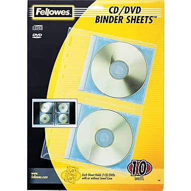 Fellowes CD/DVD Protector for 3-Ring Binders, 10/Pack