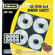 Fellowes® CD/DVD Binder Sheets, Clear/Black, 25/Pk