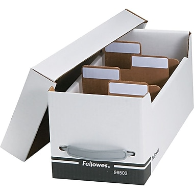 Fellowes ® Corrugated Paper Media File, Holds 125 Diskettes/35 Standard Cases, White/Black