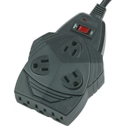 """Fellowes® Mighty 8 Surge Protector, Black, 1-5/8""""H x 6""""W x 4-1/4""""D"""