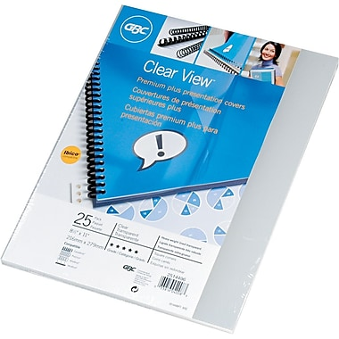 GBC ClearView® Presentation Covers, Premium Clear Lined, 25 Pieces