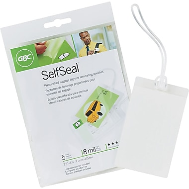 GBC® SelfSeal Luggage Tag and Loops, 2-7/8