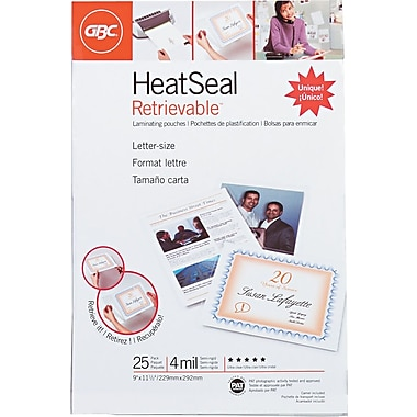 GBC® HeatSeal™ 4 Mil Retrievelt Retrievable Laminating Pouches, Letter Size