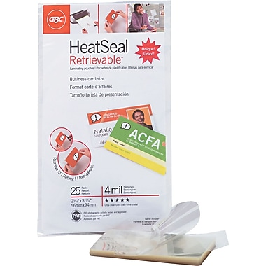 GBC® HeatSeal™ 4 Mil Retrievelt Retrievable Laminating Pouches, Business Card Size