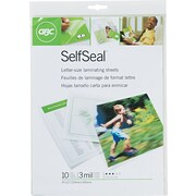 GBC® SelfSeal™ Clear Laminating Sheets, Letter Size Sheets