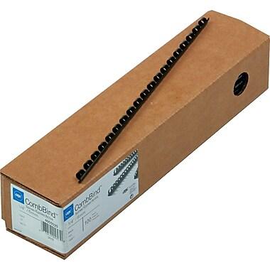 GBC CombBind Plastic Binding Spines, Black, 1/4