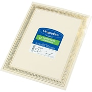 "Geographics© Blank Recycled Foil Enhanced Award Certificates, 24-lb., Gold Stamped Flourish Design, 8 1/2""H x 11""W, 12/Pack"