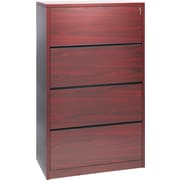 HON® 10500 Series Wood Lateral File Cabinet, 36 Wide, 4-Drawer, Mahogany