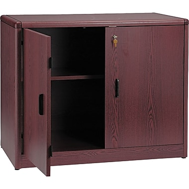 HON 10700 Series Storage Cabinet with Adjustable Shelf, Mahogany